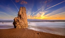 Sunset El Matador State Beach, Malibu. Sea Stack at El Matador State Beach in a nice sunset, Malibu Royalty Free Stock Image