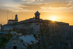 Sunset in El Morro in Havana,Cuba Royalty Free Stock Photos