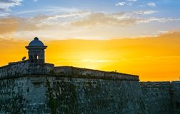 Sunset in El Morro in Havana,Cuba Royalty Free Stock Image