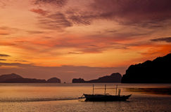 Sunset. At el nido in Palawan philippines Stock Photos