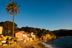 Sunset in Elba, Italy. Sunset in Forno Bech, in the bay of Biodola, Isle of Elba, Livorno, Italy royalty free stock image