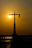 Sunset electricity post Stock Photos