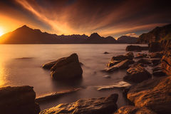Sunset at the Elgol beach Royalty Free Stock Image