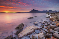 Sunset at the Elgol beach, Isle of Skye, Scotland Royalty Free Stock Photography