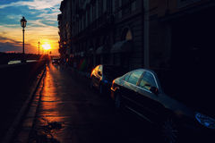Sunset on the embankment of Florence Royalty Free Stock Photos