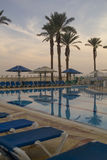 Sunset in Empty swimming pool of Luxury Hotel Royalty Free Stock Photography