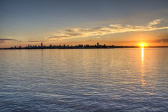 Sunset in Encarnacion. Paraguay Stock Image