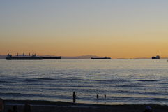 Sunset at English bay in Vancouver Royalty Free Stock Image