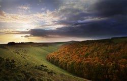 Sunset in English landscape. Dorset royalty free stock image