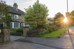 Sunset on english street. An idyllic picture on an English street Stock Photography