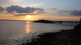 Sunset English Victorian pier Birnbeck Weston-Super-Mare Somerset England uk stock video