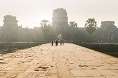 Sunset in Angkor wat entrance royalty free stock images
