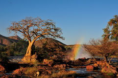 Sunset at the Epupa waterfall, Namibia Stock Images