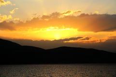 The sunset of Erhai lake in dali city yunnan, china Stock Image
