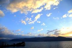 The sunset of Erhai lake in dali city yunnan, china Stock Photography