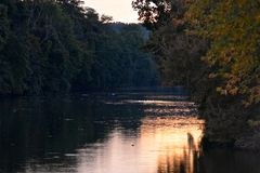 Sunset on the Erie Canal Stock Photo