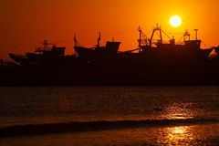 Sunset at Essaouira Beach Royalty Free Stock Image