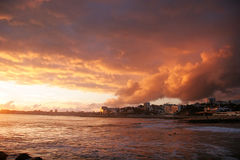 Sunset in Estoril, Portugal. Beautiful sunset on the beach of Estoril, Portugal stock photos