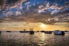 Sunset on Etang-Sale. Sunset on L'Étang-Salé marina at the Réunion Island Royalty Free Stock Photography