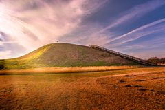 Sunset on Etowah Indian Mounds Historic Site in Cartersville Georgia. Sunset picture on Etowah Indian Mounds Historic Site in Cartersville Georgia stock images