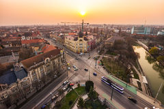 Sunset in a European city Stock Images