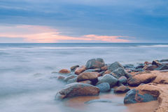 Sunset evening on the baltic sea. 2014 royalty free stock image
