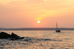 Sunset - 3. Evening on the Black Sea in Bulgaria in the fall Royalty Free Stock Photo