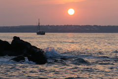 Sunset - 4. Evening on the Black Sea in Bulgaria in the fall Stock Image