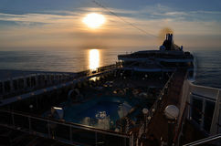 Sunset in the evening on cruise ship Stock Image