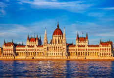 Sunset evening with hungarian parliament in budapest royalty free stock image