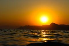 Sunset, Evening, Landscape, Dusk, Landscape, Crimea, the black sea, the sea. Sunset over the black sea Royalty Free Stock Photography
