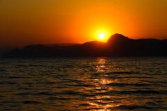 Sunset, Evening, Landscape, Dusk, Landscape, Crimea, the black sea, the sea. Sunset over the black sea Stock Image
