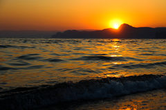 Sunset, Evening, Landscape, Dusk, Landscape, Crimea, the black sea, the sea. Sunset over the black sea Royalty Free Stock Photos