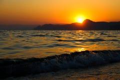 Sunset, Evening, Landscape, Dusk, Landscape, Crimea, the black sea, the sea. Sunset over the black sea Stock Photo