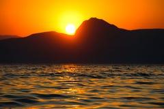 Sunset, Evening, Landscape, Dusk, Landscape, Crimea, the black sea, the sea. Sunset over the black sea Stock Images