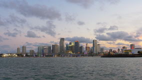 Sunset evening lights miami downtown panorama 4k usa. Usa sunset evening lights miami downtown panorama 4k stock video