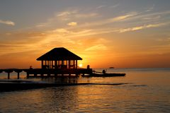 Sunset. Evening sunset in the Maldives Stock Photography