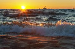 Free Sunset, Evening, Sea, Waves, Sand, Travel, Relaxation, Ship Royalty Free Stock Photography - 104457967