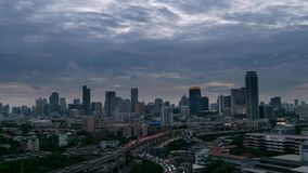 Sunset evening to night time and transportation in Bangkok city Thailand, Timelapse 4k stock video