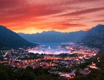 Sunset Evening View Kotor Bay Montenegro Royalty Free Stock Photography