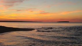 Sunset and evening waves, Lake Superior Stock Image