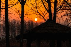 The sunset in the evenings of autumn has three pavilions, triang. Ular roofs made of wood on the front and a tree silhouette as the background Royalty Free Stock Images