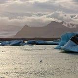Sunset at the famous glacier lagoon at Jokulsarlon - Iceland Stock Image