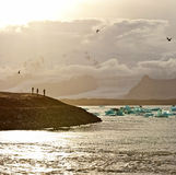 Sunset at the famous glacier lagoon at Jokulsarlon - Iceland Stock Photos