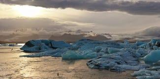 Sunset at the famous glacier lagoon at Jokulsarlon - Iceland Stock Photo