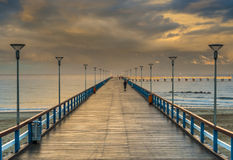Sunset at a famous marine pier in Palanga Royalty Free Stock Image