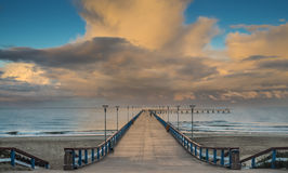 Sunset at a famous marine pier in Palanga Royalty Free Stock Images