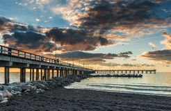 Sunset at the famous marine pier Royalty Free Stock Photography