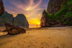 Sunset at the Maya beach on Koh Phi Phi island in Thailand Stock Photos