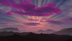 Sunset on a fantastic planet. Not high mountains are covered by a fog. On the sky red clouds float. From the sun bright beams proceed, it slowly falls to vector illustration
